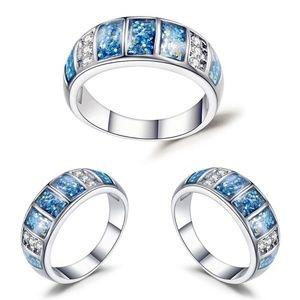 Blue Fire White Opal Baguette Shimmer Silver Ring